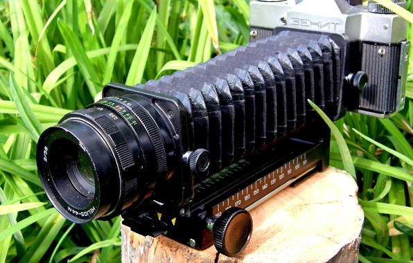 "Picture grass, the camera, lens, stump, ""Zenit"", strap, ""accordion"", ""Helios-44M"""