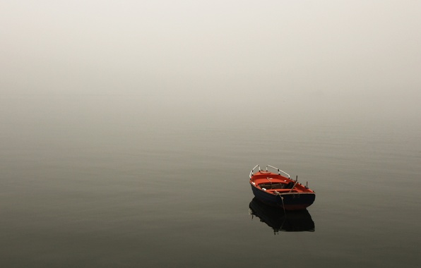 Picture water, landscape, nature, fog, lake, river, boat