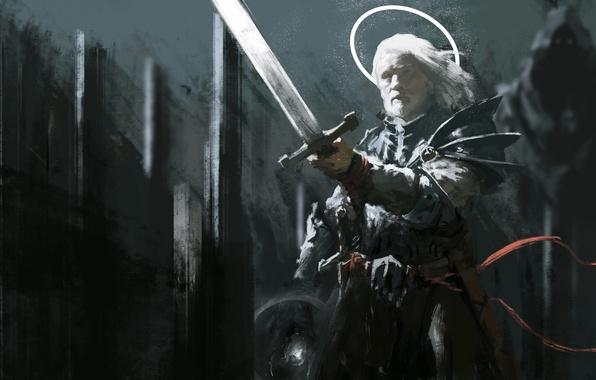 Picture angel, sword, armor, warrior, art, male, halo, archange