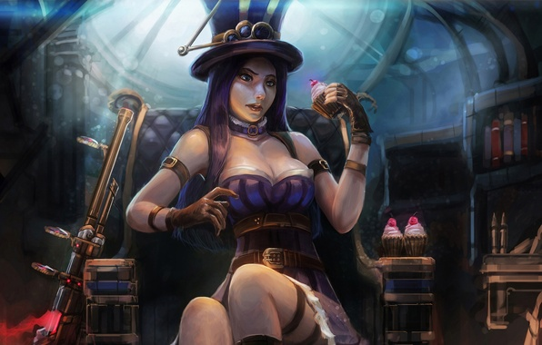Picture chest, girl, hat, the gun, cake, League of Legends, caitlyn, Sheriff of Piltover