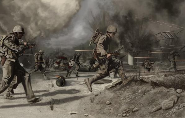 Picture field, war, soldiers, war, pustosh, Crossing the battlefield