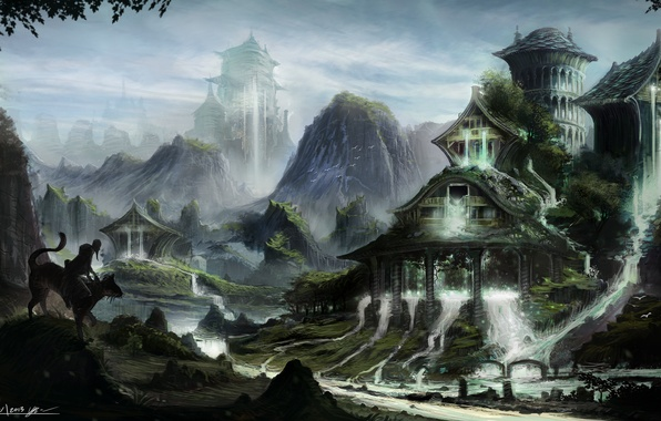 Picture cat, mountains, thickets, home, figure, art, the old man, rider, waterfalls