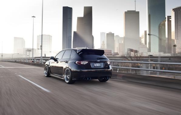 Picture the city, speed, Subaru, black, STi, Houston, houston