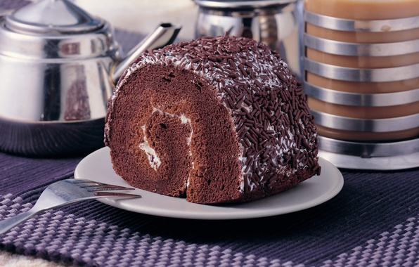 Picture food, chocolate, cake, cream, dessert, cakes, sweet, biscuit, roll, sprinkle
