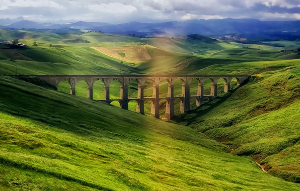 Picture the sky, mountains, Italy, aqueduct, Sicily, Sicily