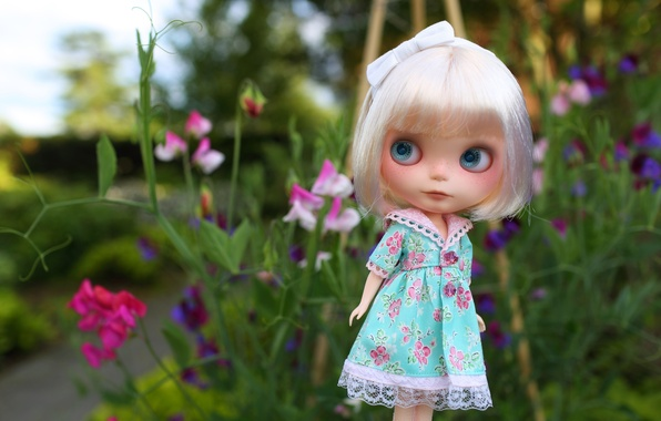 Picture eyes, look, doll, dress, bow, bangs