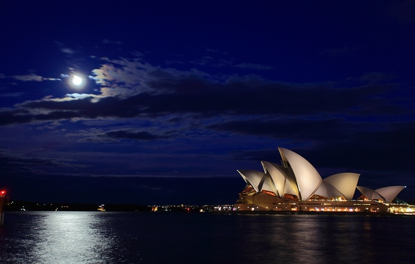 Picture sea, night, the moon, Australia, track, Sydney, Australia, Sydney, Opera House, Harbour Bridge