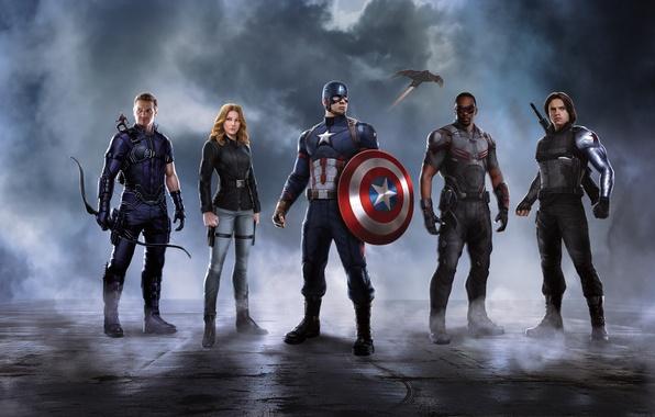 Picture Scarlett Johansson, heroes, shield, Falcon, Captain America, Black Widow, Natasha Romanoff, Chris Evans, Steve Rogers, …