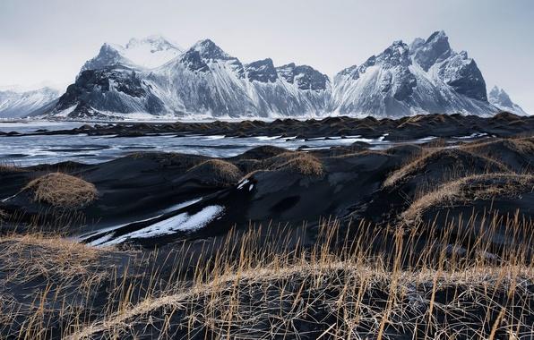 Picture the sky, grass, mountains, Iceland, Vestrahorn, Stockksness, black sand