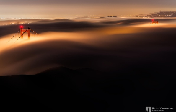 Picture night, bridge, lights, fog, support, San Francisco, Golden gate, photographer, Kenji Yamamura