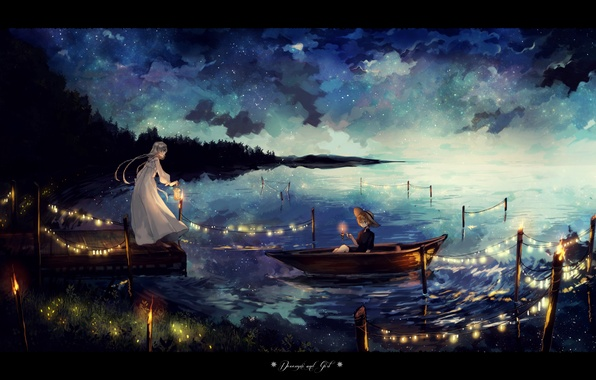 Picture the sky, girl, stars, clouds, night, lake, boat, hat, anime, art, lantern, guy, garland, canarinu