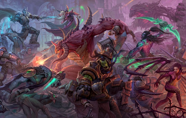 Picture starcraft, diablo, warcraft, Zeratul, sarah kerrigan, thrall, Heroes of the Storm, illidan stormrage, Kael'thas, tychus …