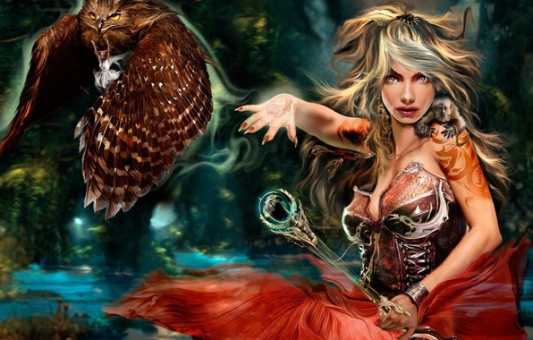 Picture girl, fantasy, bird, magic, fairy, rod