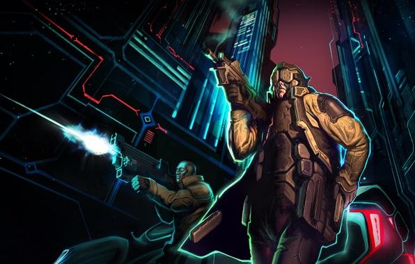 Picture the city, fiction, street, battle, art, cyborg, cyberpunk