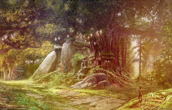 Picture forest, house, people, tale, Aion, tower of eternity