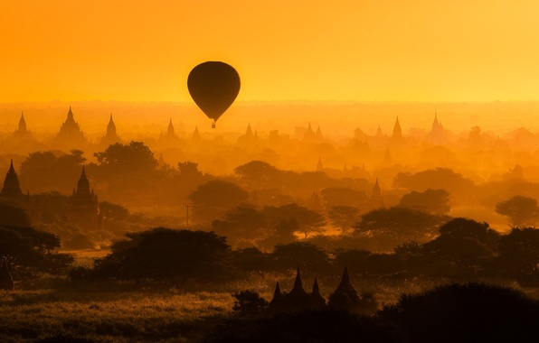 Picture trees, balloon, architecture, silhouettes, temples, Myanmar, Bagan