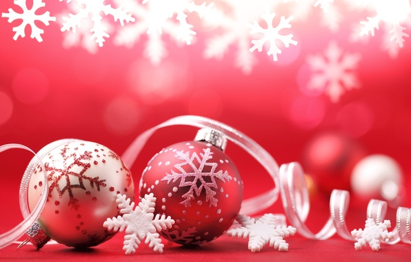 Picture balls, decoration, snowflakes, holiday, balls, New Year, Christmas