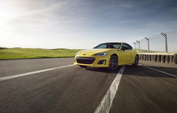 Picture car, machine, auto, the sky, Subaru, yellow, Subaru, BRZ