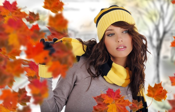 Picture street, Girl, flying autumn leaves