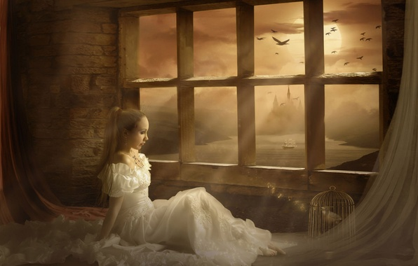 Picture girl, castle, dress, window, curtains