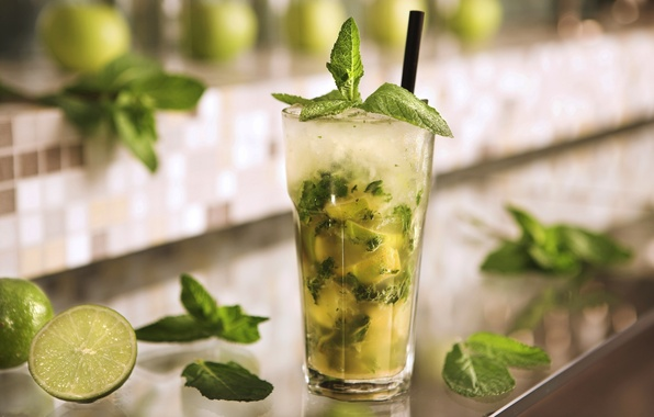 Picture glass, ice, cocktail, lime, glass, ice, drink, mint, Mojito, drink, mojito, cocktail, lime, spearmint