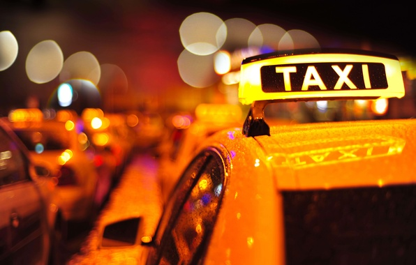 Picture roof, machine, auto, macro, the city, lights, the inscription, plate, the evening, blur, taxi, colorful, …