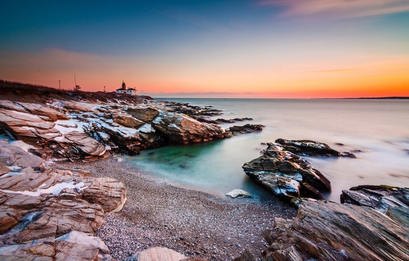 Picture sea, the sky, house, stones, shore, lighthouse, glow