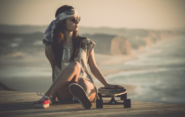 Picture girl, shorts, sneakers, legs, sitting, skateboard, points. look