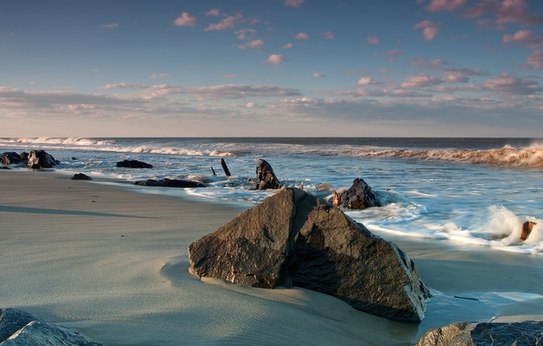 Picture sand, sea, wave, water, stones, the ocean, the wind, shore, landscapes, stone, wave, beaches