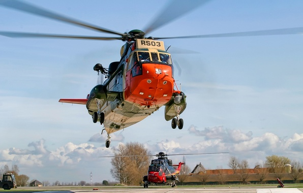 Picture the sky, helicopter, the airfield, blades, Sikorsky, S-61-SH-3, Sea King