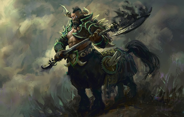 Picture art, horns, armor, axe, painting, centaur, Dota 2, Centaur, Warrunner