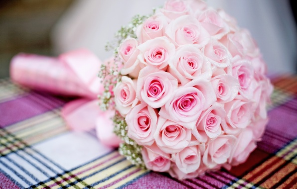 Picture pink, bouquet, Roses, wedding