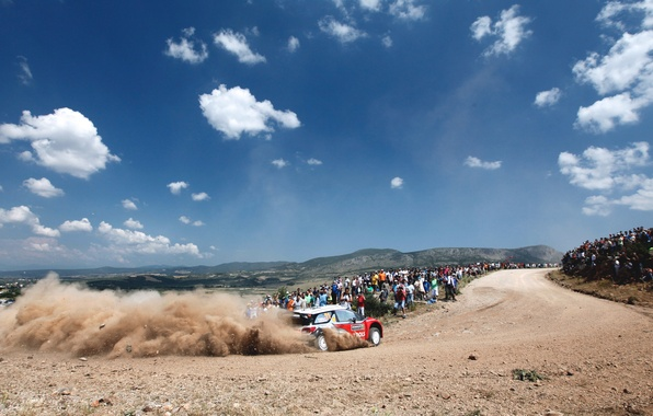 Picture The sky, Clouds, Auto, Dust, Sport, Machine, Turn, Citroen, Skid, Day, Citroen, DS3, WRC, Rally, …