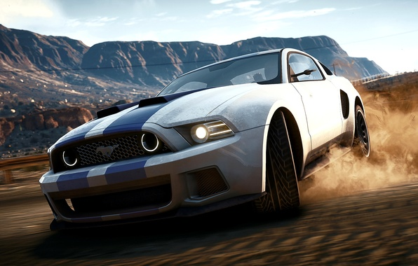 Picture Mustang, Ford, Shelby, Sand, The game, Machine, Speed, Ford, Skid, Mustang, Drift, Drift, NFS, Speed, …