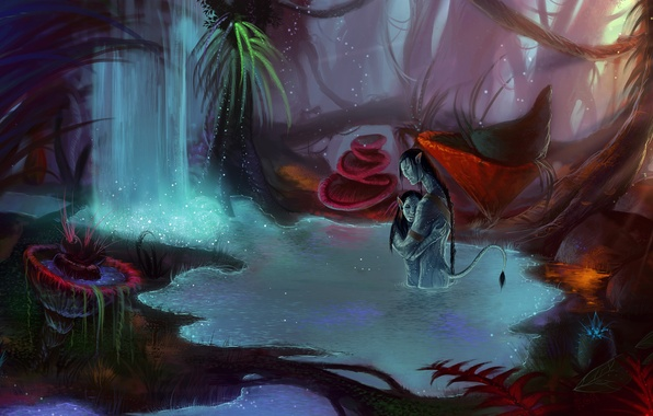 Picture forest, water, love, waterfall, art, avatar, two, avatar, Pandora