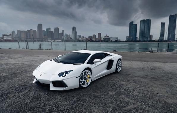 Picture Lamborghini, White, Aventador, Vellano MC Customs