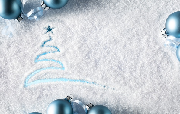 Picture snow, decoration, balls, New Year, Christmas, Christmas, balls, winter, snow, decoration, Merry