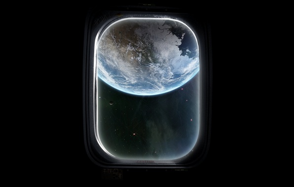 Picture space, spaceship, window, planet
