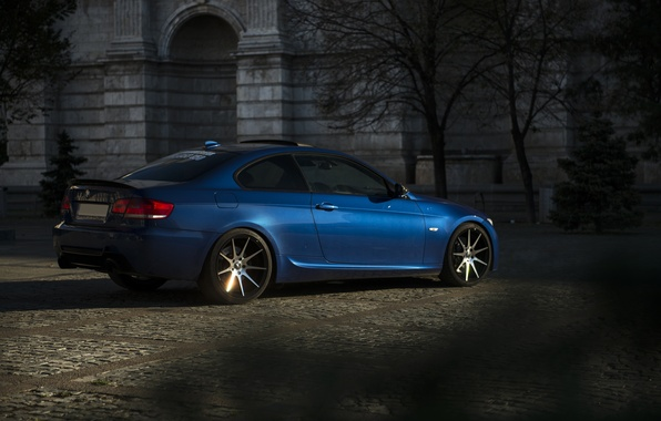 Picture The evening, BMW, Tuning, Blue, Bumper, BMW, Drives, blue, E92, Back, Deep Concave