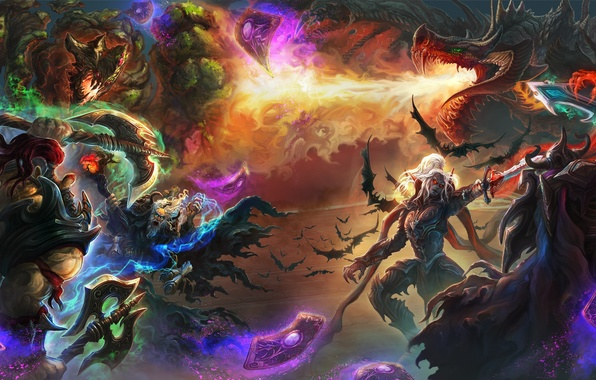 Picture card, fantasy, dragon, sword, art, battle, axe, heroes, Hearthstone