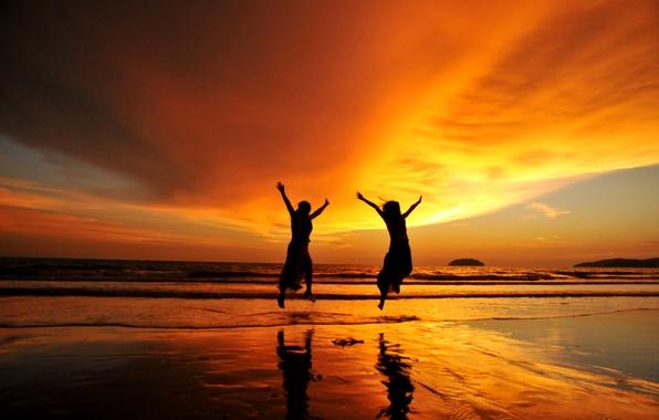 Picture sea, wave, the sun, joy, sunset, girls, shore, delight