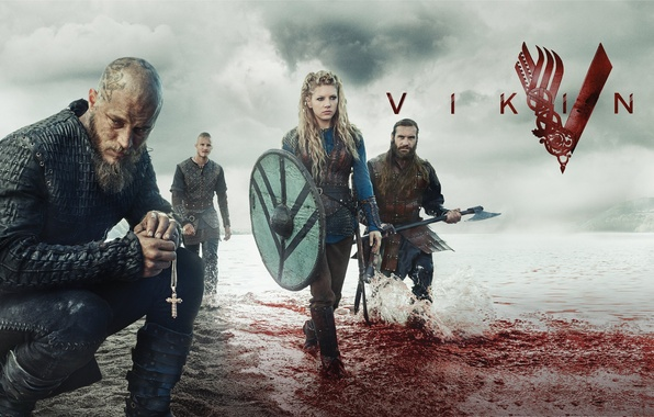 Picture blood, the series, cross, characters, the fjord, Vikings, The Vikings, Katheryn Winnick, Travis Fimmel, Ragnar …