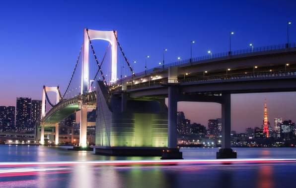 Picture the sky, night, bridge, lights, building, tower, home, excerpt, Japan, lighting, Tokyo, lights, Bay, Tokyo, ...