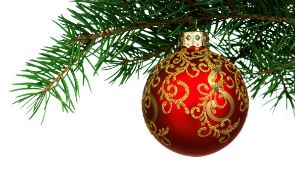 Picture winter, red, tree, new year, ball, branch, green, Christmas toy