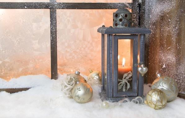 Picture winter, balls, light, snow, toys, candle, New Year, window, Christmas, flashlight, lantern, white, Christmas, holidays, …