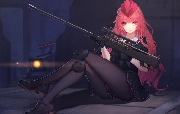 Picture girl, weapons, anime, art, form, military, daye bie qia lian