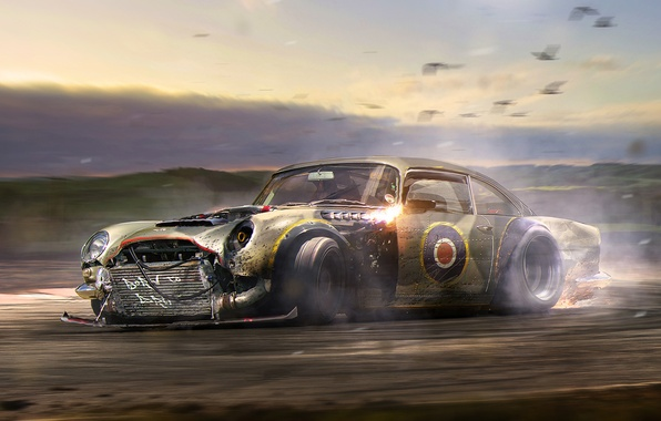 Picture Aston Martin, Drift, Car, Tuning, Future, DB5, by Khyzyl Saleem, Born