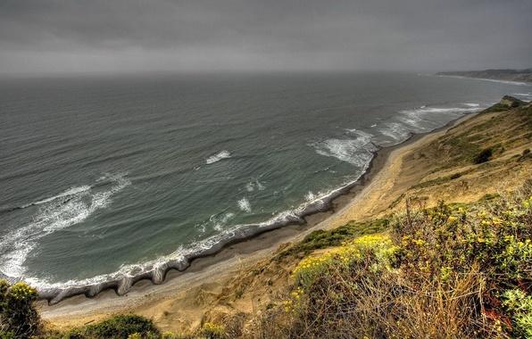 Picture sea, wave, clouds, shore, storm