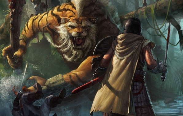 Picture tiger, stream, weapons, people, monster, sword, art, battle, shield, club