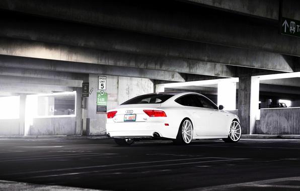 Picture Audi, white, wheels, vossen